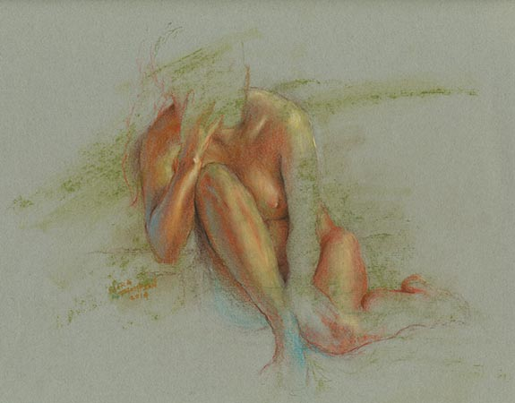 Pastel female figure drawing on green paper by Nora Thompson