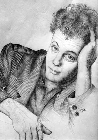 Graphite drawing of Billy Joel by Nora Thompson
