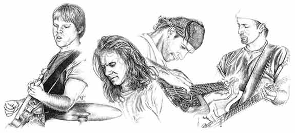 Graphite drawing of The Clarks by Nora Thompson