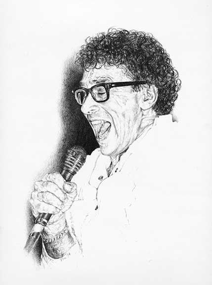 Graphite portrait drawing of Donnie Iris by Nora Thompson