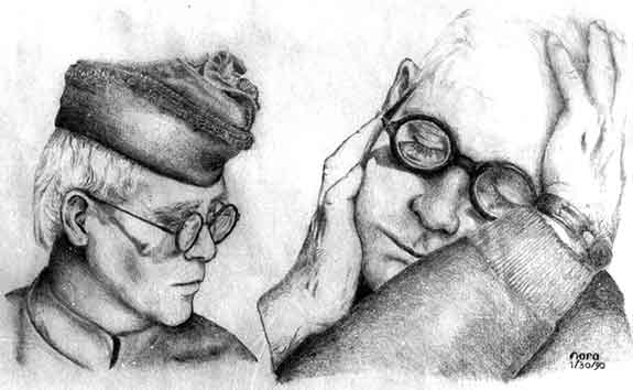 Graphite drawing of Elton John by Nora Thompson