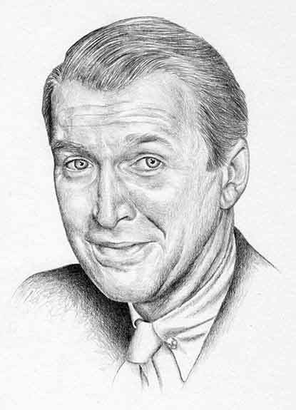 Graphite on Bristol portrait of Jimmy Stewart by Nora Thompson