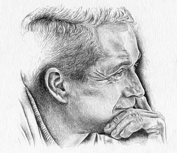 Graphite on Bristol portrait of Perry Como by Nora Thompson