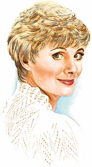 Acrylic on Bristol portrait of Shirley Jones by Nora Thompson