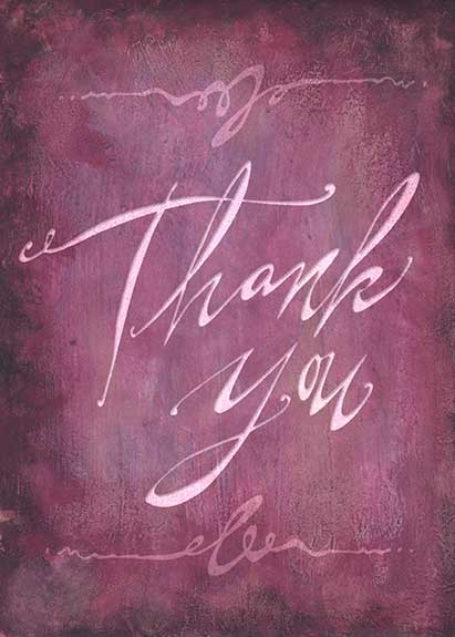 """Thank You"" greeting card lettering"