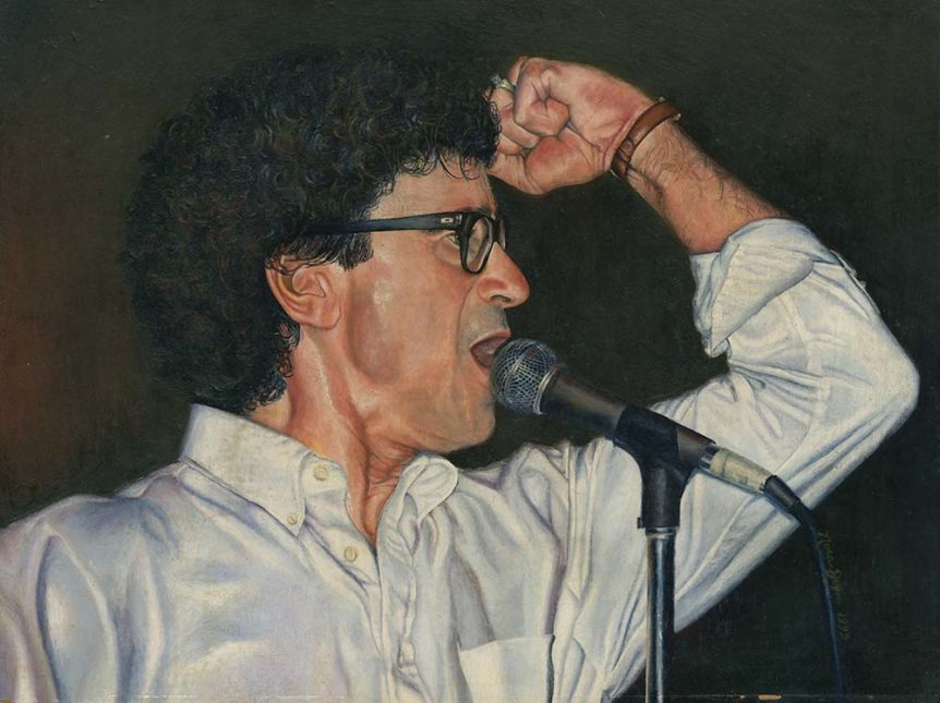 Oil on board painting of Donnie Iris by Nora Thompson