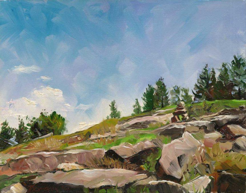 Cairn, West Ledge Trail, Acadia National Park by Stuart Thompson